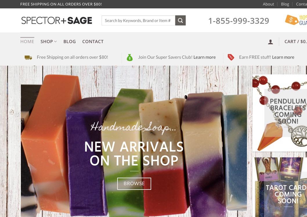 Spector + Sage - ecommerce design